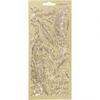 Stickers, fjädrar, 10x23 cm, guld, 1 ark