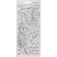 Stickers, fjädrar, 10x23 cm, silver, 1 ark