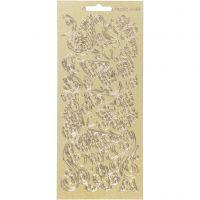 Stickers, fjärilar, 10x23 cm, guld, 1 ark