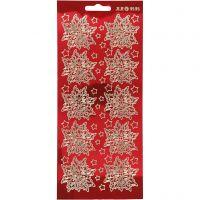 Stickers, julstjärnor, 10x23 cm, guld, transparent röd, 1 ark
