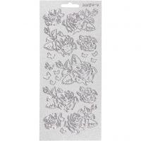 Stickers, rosor, 10x23 cm, silver, 1 ark