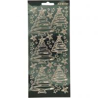 Stickers, julgranar, 10x23 cm, guld, 1 ark