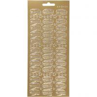 Stickers, hatt, 10x23 cm, guld, 1 ark