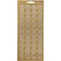 Stickers, lyra, 10x23 cm, guld, 1 ark