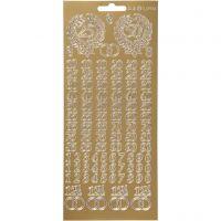 Stickers, jubileum, 10x23 cm, guld, 1 ark