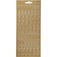 Stickers, siffror, 10x23 cm, guld, 1 ark