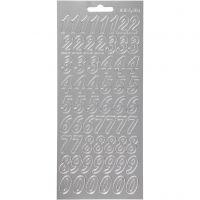 Stickers, siffror, 10x23 cm, silver, 1 ark