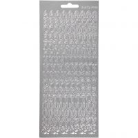Stickers, bokstäver, 10x23 cm, silver, 1 ark