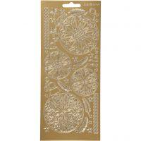 Stickers, julkulor, 10x23 cm, guld, 1 ark