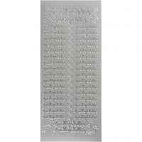 Stickers, indbydelse, 10x23 cm, silver, 1 ark