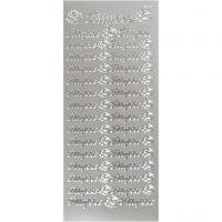 Stickers, tillykke, 10x23 cm, silver, 1 ark
