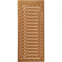Stickers, kobberbryllup, 10x23 cm, koppar, 1 ark