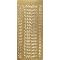 Stickers, guldbryllup, 10x23 cm, guld, 1 ark