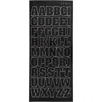 Stickers, stora bokstäver, versaler, 10x23 cm, svart, 1 ark