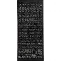 Stickers, små bokstäver, gemener, 10x23 cm, svart, 1 ark