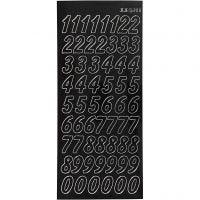 Stickers, stora siffror, 10x23 cm, svart, 1 ark