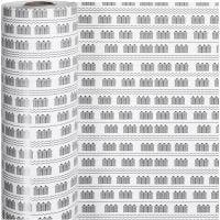 Presentpapper, badhus, B: 57 cm, 80 g, svart, vit, 150 m/ 1 rl.