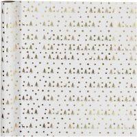 Presentpapper, julgran, B: 70 cm, 80 g, guld, vit, 2 m/ 1 rl.