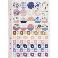 Stickersbok, blommor, A5, guld, lila, rosa, 1 st./ 1 förp.
