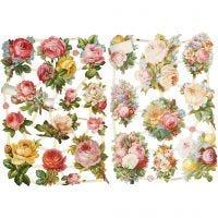 Bokmärken, rosor, 16,5x23,5 cm, 2 ark/ 1 förp.