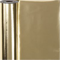 Presentpapper, B: 50 cm, 65 g, guld, 100 m/ 1 rl.