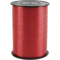 Presentsnöre, B: 10 mm, blank, röd, 250 m/ 1 rl.