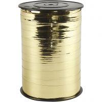Presentsnöre, B: 10 mm, blank, metallguld, 250 m/ 1 rl.