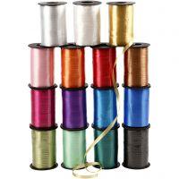 Presentsnören, B: 10 mm, blank, mixade färger, 15x250 m/ 1 förp.