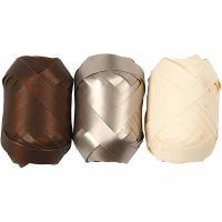 Presentband, B: 10 mm, brun, metallguld, ljusnatur, 3x10 m/ 1 förp.