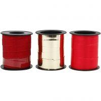 Presentsnören, B: 10 mm, guld, röd, röd, 3x15 m/ 1 förp.