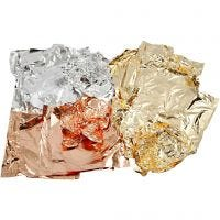Slagmetall, 16x16 cm, koppar, guld, silver, 3x50 ark/ 1 förp.