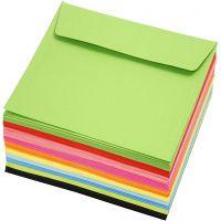 Färgade kuvert, kuvertstl. 16x16 cm, 80 g, mixade färger, 10x10 st./ 1 förp.