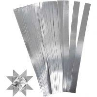 Stjärnstrimlor, L: 45 cm, B: 10 mm, Dia. 4,5 cm, silver, 100 strimlor/ 1 förp.