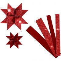Stjärnstrimlor, L: 44+78 cm, Dia. 6,5+11,5 cm, B: 15+25 mm, glitter,lack, röd, 40 strimlor/ 1 förp.