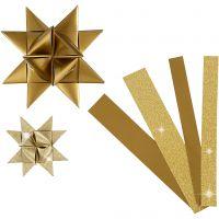 Stjärnstrimlor, L: 44+78 cm, Dia. 6,5+11,5 cm, B: 15+25 mm, glitter,lack, guld, 40 strimlor/ 1 förp.