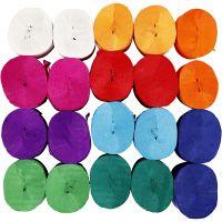 Kräppapper, rulle, L: 20 m, B: 5 cm, 22 g, mixade färger, 20 rl./ 1 förp.
