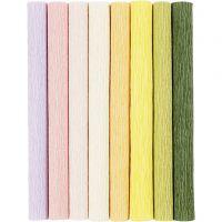 Kräppapper, 25x60 cm, Stretchbarhet: 180%, 105 g, pastellfärger, 8 ark/ 1 förp.