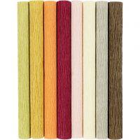 Kräppapper, 25x60 cm, Stretchbarhet: 180%, 105 g, dova färger, 8 ark/ 1 förp.