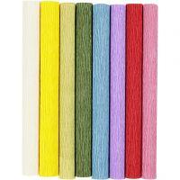 Kräppapper, 25x60 cm, Stretchbarhet: 180%, 105 g, standardfärger, 8 ark/ 1 förp.