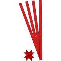 Stjärnstrimlor, L: 45 cm, B: 10 mm, Dia. 4,5 cm, röd, 100 strimlor/ 1 förp.