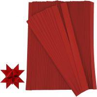 Stjärnstrimlor, L: 45 cm, B: 10 mm, Dia. 4,5 cm, röd, 500 strimlor/ 1 förp.