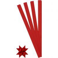 Stjärnstrimlor, L: 45 cm, Dia. 6,5 cm, B: 15 mm, röd, 100 strimlor/ 1 förp.