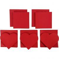 Brevkort, kortstl. 12,5x12,5 cm, kuvertstl. 13,5x13,5 cm, Innehållet kan variera , röd, 50 set/ 1 förp.