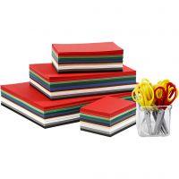 Julkartong och saxar, A3,A4,A5,A6, 180 g, mixade färger, 1 set