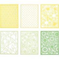 Spetskartong i block, A6, 104x146 mm, 200 g, grön, ljusgrön, gul, ljusgul, 24 st./ 1 förp.