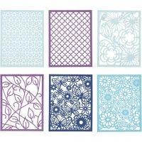Spetskartong i block, A6, 104x146 mm, 200 g, blå, ljusblå, mörkblå, lila, 24 st./ 1 förp.