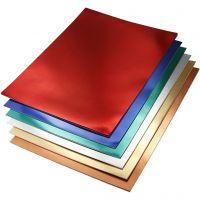 Metallkartong, A4, 210x297 mm, 280 g, mixade färger, 30 mix. ark/ 1 förp.