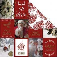 Designpapper, julmotiv och kottar, 180 g, guld, röd, 3 ark/ 1 förp.