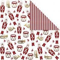 Designpapper, nötknäpparen, 180 g, guld, röd, vit, 3 ark/ 1 förp.
