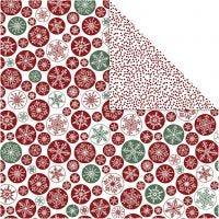 Designpapper, snöflingor & prickar, 30,5x30,5 cm, 180 g, 5 ark/ 1 förp.